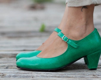 Green Leather Shoes, Green Pumps, Heeled Leather Pumps, High Heel Shoes , Free Shipping