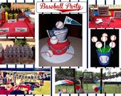 Baseball party printable party supplies NO INVITE  UPrint customized card by greenmelonstudios