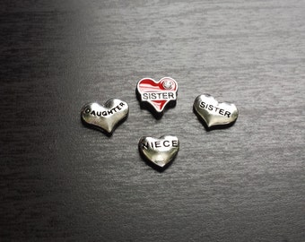 Heart Floating Charm for Floating Lockets-Sister-Daughter-Niece Charms-Gift Ideas