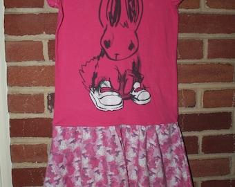 Upcycled Bunny Twirly Circle Skirt Dress, Old Navy size Medium / 8