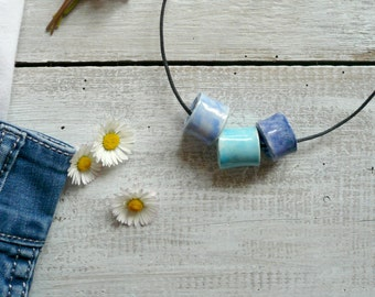 Simple Blue ceramic charms pendant necklace-necklace girl simple and original-Blue ceramic pendants-spring necklace
