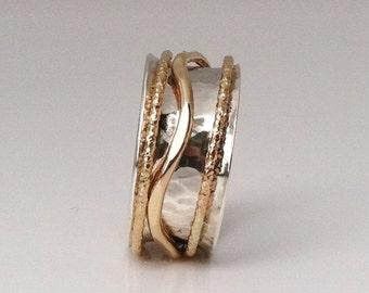 Gold Ring, Silver Ring, Girlfriend Ring, Mixed Metal Ring, Thumb Ring, Silver and Gold Ring, Silver Band, Stacking Ring,