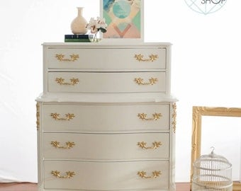 SOLD/VENDU White and Gold French Dresser