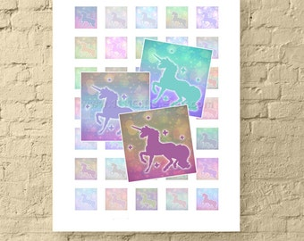1 Inch Square Digital Collage Sheet * 1 Inch Printable Images of Magical Unicorns for Crafts * 1 Inch Square Images * Instant Download