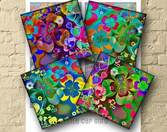 RETRO CLOVERS & HEARTS 3.8x3.8 inch Square Images for Coasters Digital Collage Sheet Printable Download Cards Magnets Gift Tags Scrapbooking