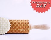 Valentine's Day hearts - embossing rolling pin, laser engraved rolling pin. <3