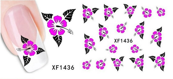Hot Pink Tri Leaf Hawaiian Hibiscus Flower Nail Art Water Decal XF1436