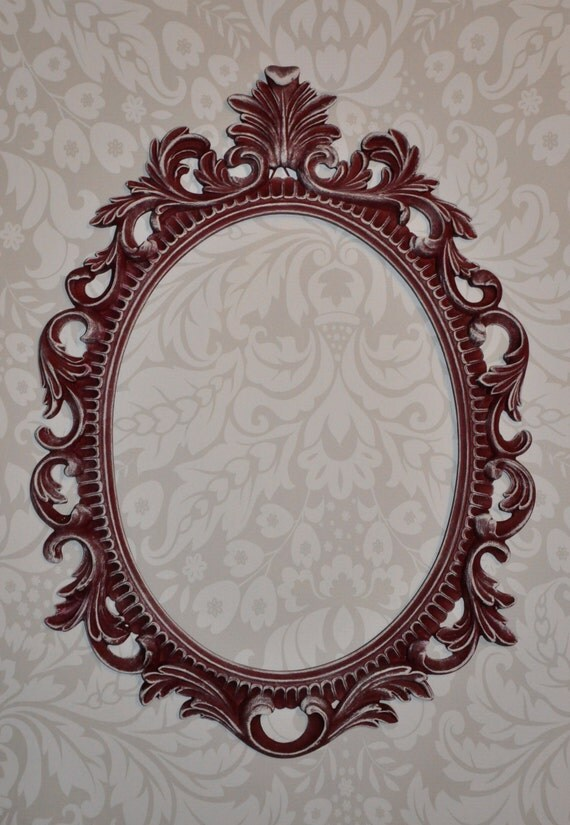 Ornate mirror cranberry burgundy red maroon distressed vintage