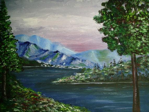 Peinture acrylique paysage d'hiver montagne paysage sur