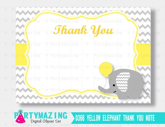 Elephant Thank You Note, Yellow Chevron Elephant Printable Thank You Cards, Instant Download, Yellow Elephant Baby Shower Collection D366