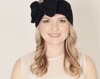 Curious oversized bow knitted headband head wrap