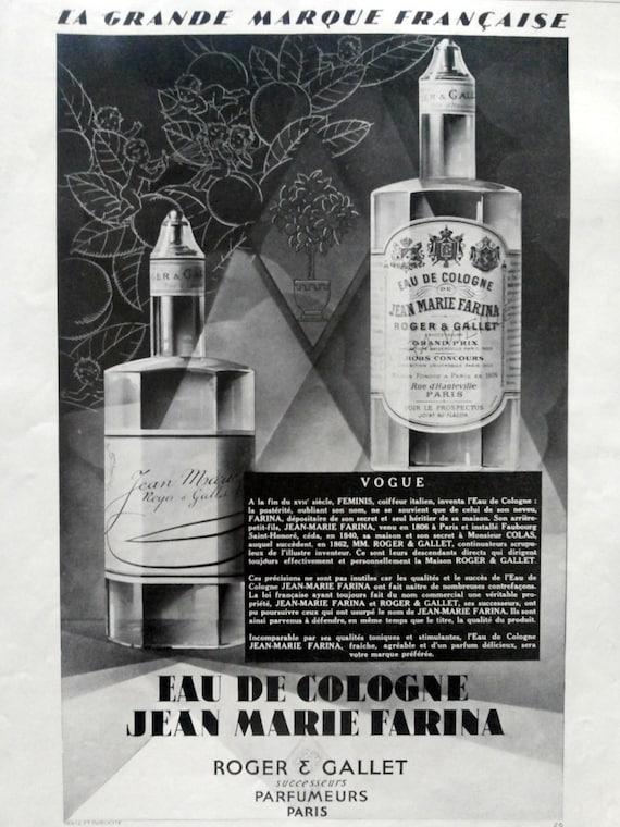 eau de cologne jean marie farina by roger gallet vintage par oldmag. Black Bedroom Furniture Sets. Home Design Ideas