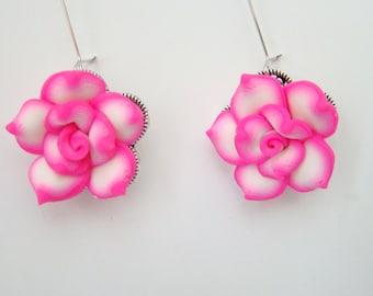 Set of 6 Bridesmaid Earrings Bridesmaid Gift Bridesmaid Jewelry Rustic Wedding Wedding Earrings Bridal Jewelry Pink earrings Flower Earrings