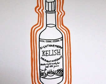 Right Northern Relish hand screen printed greetings card