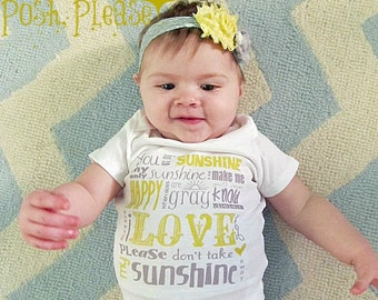 Gender Neutral Take Home Outfit You Are My Sunshine Newborn Coming Home Outfit Birth Announcement OnePiece Baby Shower Gift
