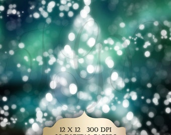 Bokeh Christmas Tree Digital Photography Backdrop - bokeh lights holiday season digital papers 12 x 12