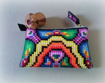 Made to order: Kaleidoscope Tiny Clutch embroidered by hand / OOAK purse / Best gift for special date
