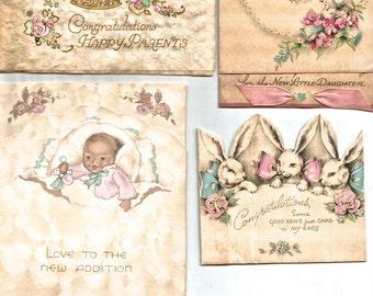 Vintage baby cards Art Deco rabbit bunny congratulations digital download printable image 300 dpi