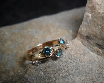 Gold Ring 14 k with diamonds