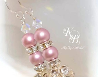 Bridesmaid Earrings, Choice of Color, Wedding Earrings, Pearl Earrings, Bridal Jewelry, Wedding Jewelry, Bridesmaid Jewelry