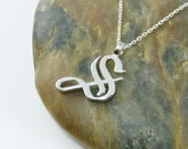 Letter 'S' - Single Letter Necklace - Sterling Silver - Old English Calligraphy, 16-18 inch chain