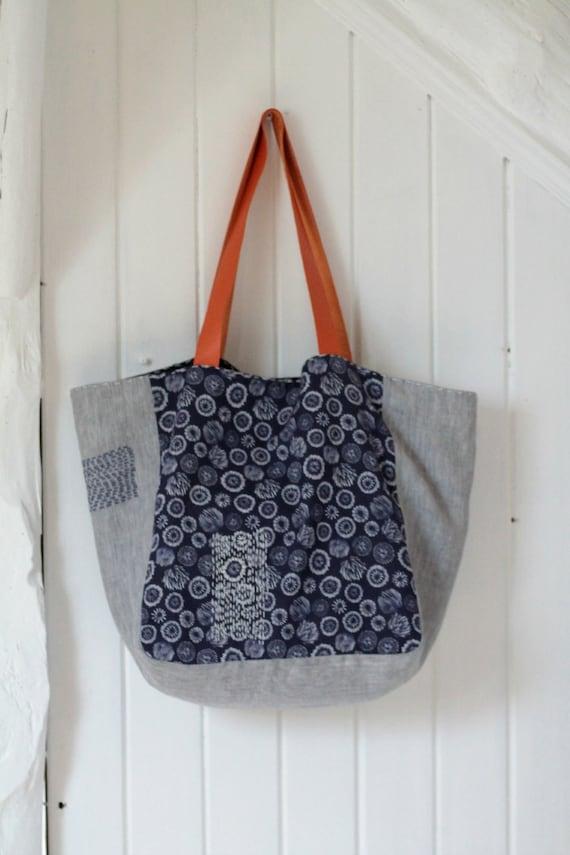 Grand cabas en lin et tissu japonais anses en cuir sac cabas - Tuto grand sac cabas ...