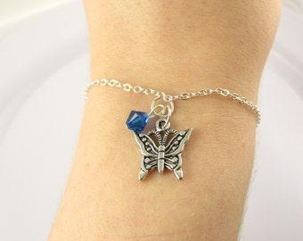 Butterfly Bracelet- choose a color, Butterfly Jewelry, Silver Butterfly Bracelet, Custom Butterfly, Butterfly Gift, Silver Butterfly Jewelry