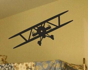 Vintage Airplane Decal / Biplane Wall Decal / Propeller Plane / Prop Plane Vinyl Wall Decal