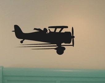 Vintage Airplane Decal Biplane Wall Decal By Vinyllydone