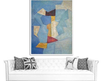 Large Abstract Painting Canvas Art, Oil Painting Abstract Art, Hand Painted Modern Art Acrylic Painting, Color Fields, Red Blue Black White.