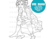 Tired Mom digistamp, digital stamp housewife SAHM with curlers, exhausted lady instant download coloring page