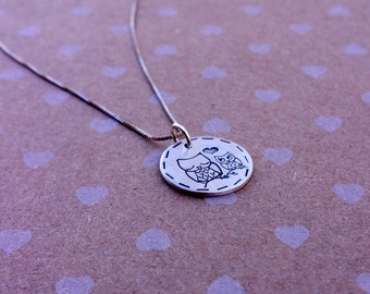 Owl charm necklace, Sterling silver mother and baby owl (boy or girl)  necklace, Mothers day necklace, Stamped owl necklace, Mom