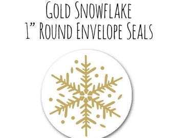 "Gold Snowflake 1"" Round Circle Envelope Seals Set of 25, Christmas Holiday Seals, Circle Stickers, Gold Envelope Seals, Round Gold Labels"