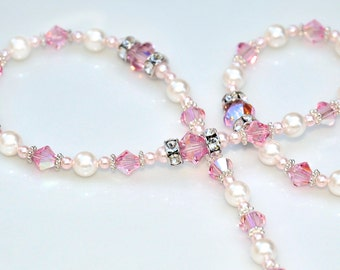 Gorgeous Swarovski Crystal Rosary, Sparkling Pink and White Pearls - Communion Baptism Confirmation Gift for Girls - Catholic Heirloom