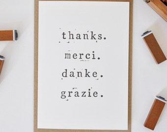 Thank You Card - Thanks. Merci. Danke. Grazie - Many Thanks Card - Thank You Notecard