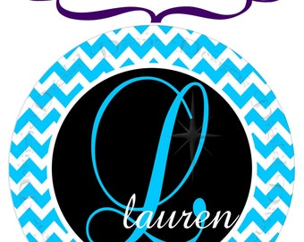 DIY Digital Printable Custom Iron On Transfer - Aqua Chevron Monogrammed, Customized with Letter and Name of your choice
