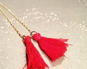 Red Tassel Necklace. Long boho necklace. Golden Chain Necklace. Red Necklace. Long Tassel Necklace. Multi Tassel Necklace. Handmade Jewelry.