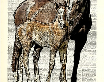 """2 Horses, Mom and Baby print on page. Vintage book page art print. Fits 8""""x 10"""" frame."""