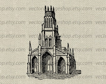 Old Church Vector Graphic Commercial Use Medieval Abbey Architecture Digital Clipart Building Illustration Instant Download WEB1699W