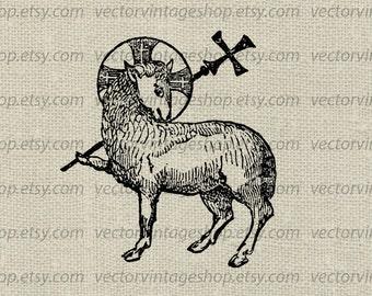 Christian Clip Art Angus Dei Graphic Instant Download Lamb Of God Religious Clipart Antique