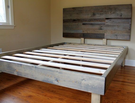 reclaimed wood bed weathered grey minimalist bed frame with. Black Bedroom Furniture Sets. Home Design Ideas