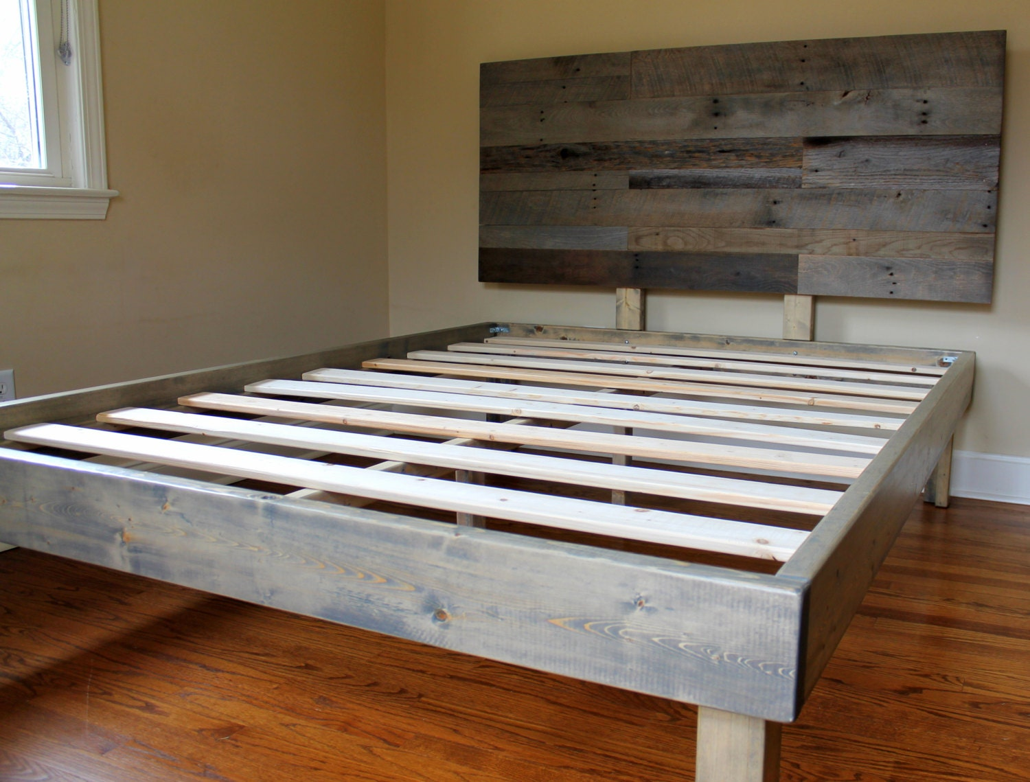 Reclaimed Wood Bed Weathered Grey Minimalist Bed Frame with