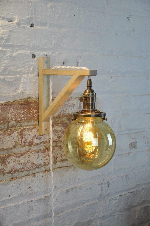 Wall Sconce Glass Globe Antique Brass Birch Wood Light Lamp
