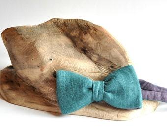 Teal Bow Tie Dusty Purple Bow Tie Double Sided Self tie Bow Tie Linen Bow Tie