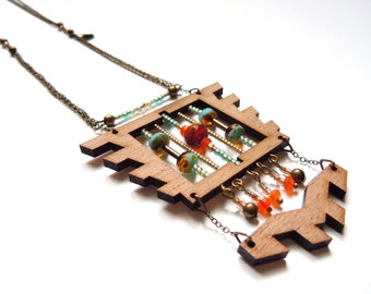 DARWIN_Sautoir wooden, pearls and semi-precious stones