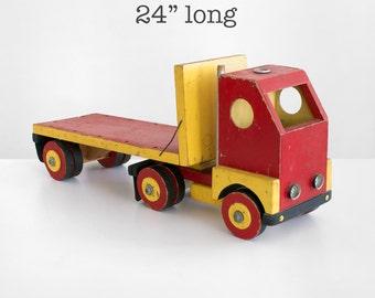 hand made truck, vintage wooden truck, antique truck, folk art truck, vintage toy truck, wood toy truck,  semi truck, primitive toy truck,