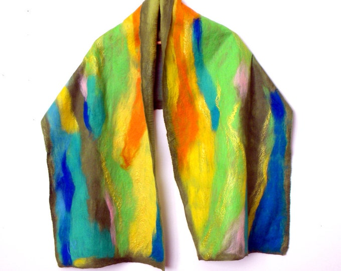 Women wool silk scarf Green cape Felted scarf Gift for mother Spring scarf inspirational women gift for her Art to wear Gift for girlfriend