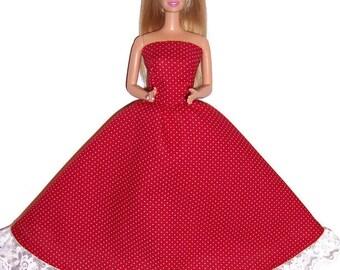 Fashion Doll Clothes-Red & White Polka Dot Strapless Dress