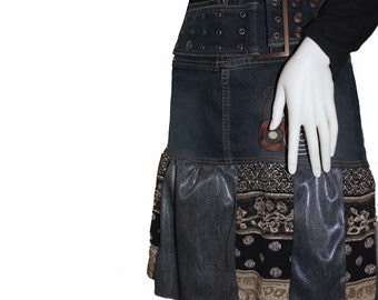 Upcycled Denim Skirt (5-6), Altered Jean Skirt, Eco-Friendly Clothing
