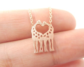 Classic Giraffe Silhouette Shaped Charm Necklace in Rose Gold  | Minimalistic Handmade Animal Jewelry